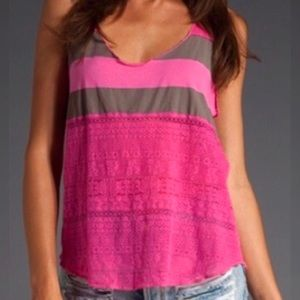 We The Free Striped Lace Racerback Tank Pink Gray